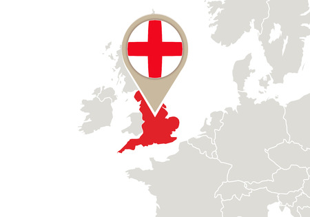 england map: Europe with highlighted England map and flag Illustration