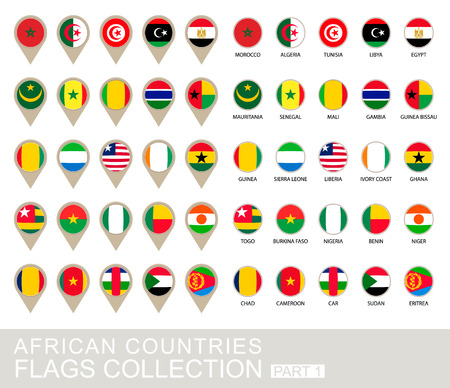 African Countries Flags Collection Vector