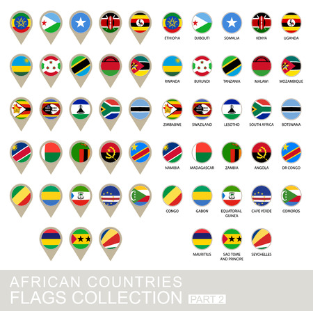 African Countries Flags Collection, Part 2 , 2  version Vector
