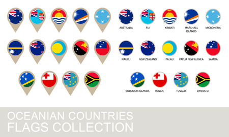 oceania: Oceania Countries Flags Collection, 2  version Illustration