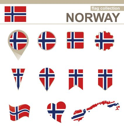 norway flag: Norway Flag Collection, 12 versions Illustration