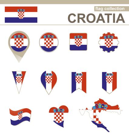 bandiera croazia: Croazia Flag Collection, 12 versioni Vettoriali
