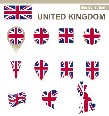 Reino Unido Bandera Collection, 12 versiones Ilustración de vector