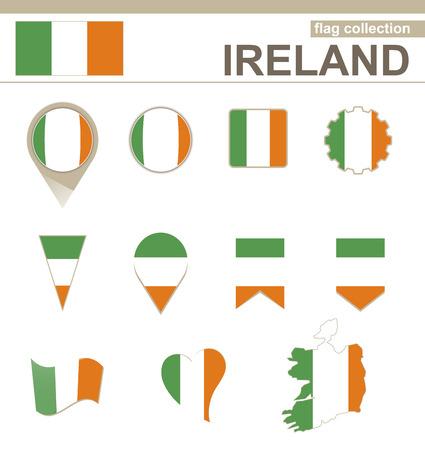 irish map: Ireland Flag Collection, 12 versions Illustration