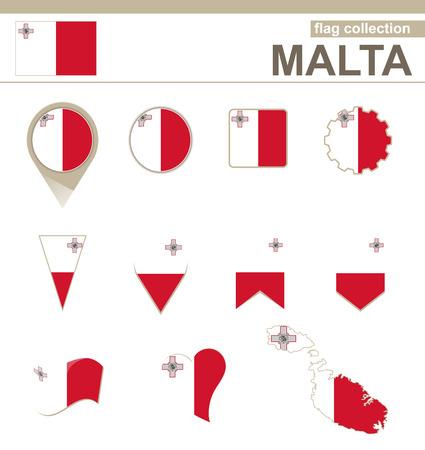 maltese map: Malta Flag Collection, 12 versions