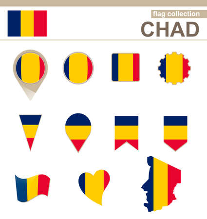tchad: Collection Flag Tchad, 12 versions Illustration