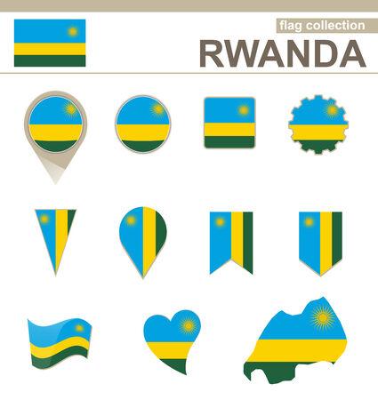 Rwanda Flag Collection, 12 versions Vector