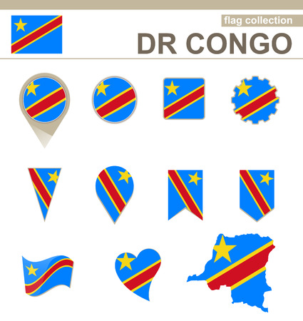 DR Congo Flag Collection, 12 versions Vector