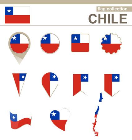 チリの旗コレクション 12 バージョン  イラスト・ベクター素材