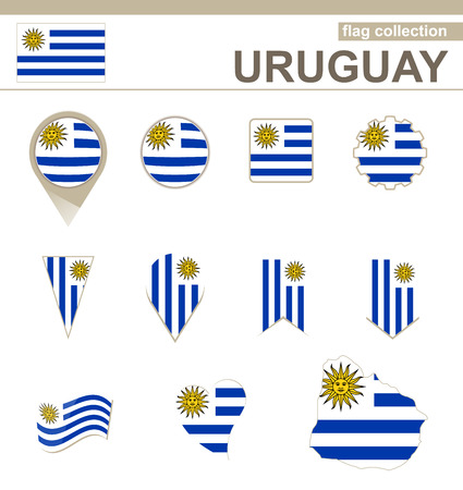 uruguay: Uruguay Flag Collection, 12 versions Illustration