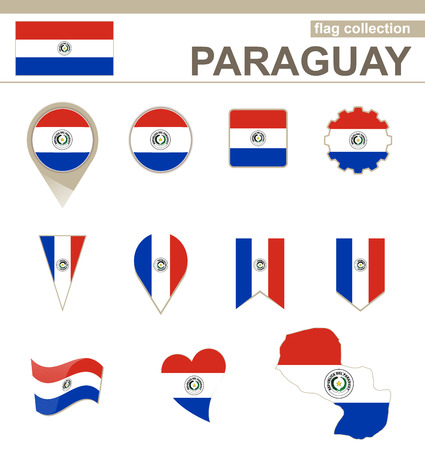 Paraguay flag: Paraguay Flag Collection, 12 versiones Vectores