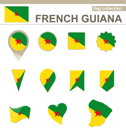 french guiana: French Guiana Flag Collection, 12 versions Illustration