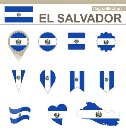 el salvador flag: El Salvador Flag Collection, 12 versions Illustration
