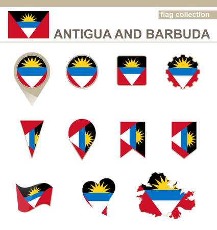 Antigua and Barbuda Flag Collection, 12 versions Vector