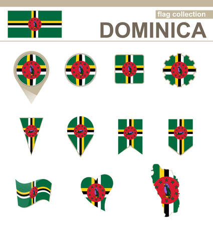 dominica: Dominica Flag Collection, 12 versions
