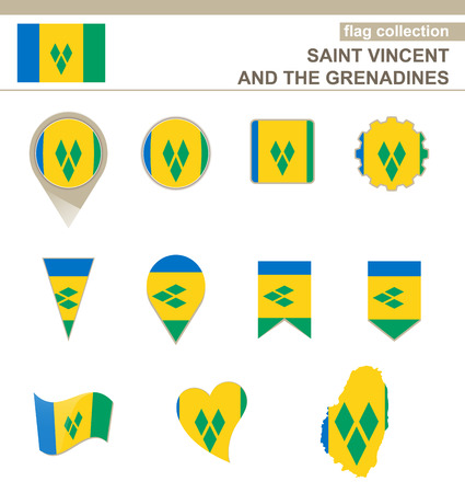 grenadines: Saint Vincent and the Grenadines Flag Collection, 12 versions