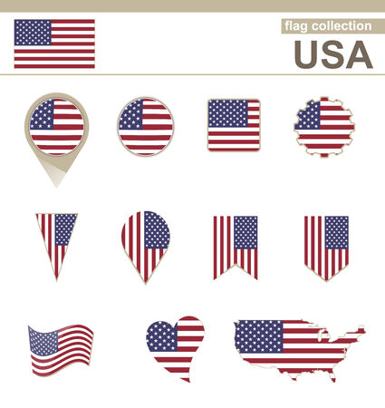 USA Flag Collection, 12 versions Vector