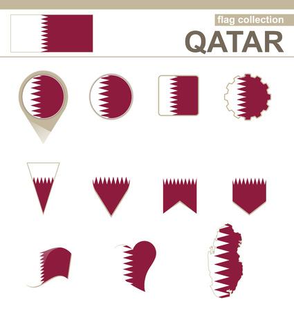 versions: Qatar Flag Collection, 12 versions Illustration