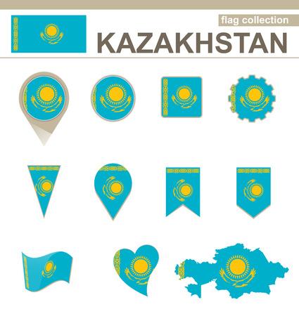 kazakhstan: Kazakhstan Flag Collection, 12 versions Illustration
