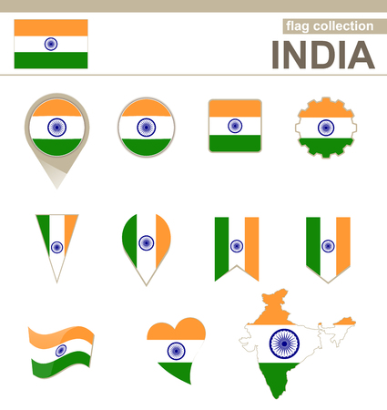 indian flag: India Flag Collection, 12 versions Illustration