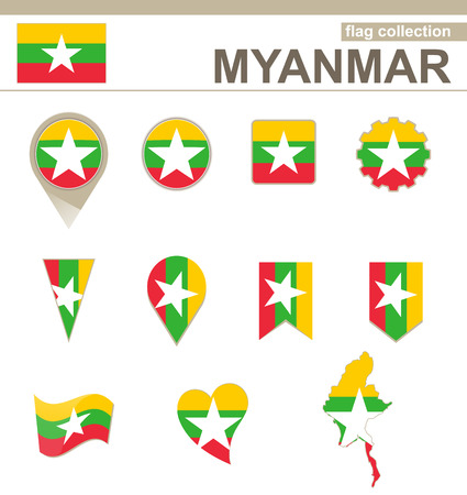 Myanmar Flag Collection, 12 versions Vector
