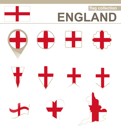 England Flag Collection, 12 versions Vector