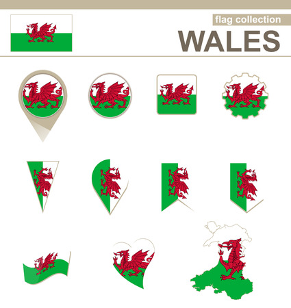 Wales Flag Collection, 12 versions Иллюстрация