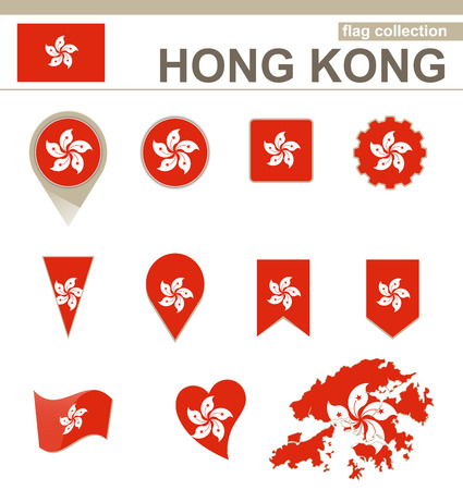 Hong Kong Flag Collection, 12 versions Stock Illustratie
