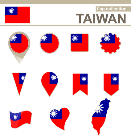 Collection Flag Taiwan, 12 versions Banque d'images - 36844320