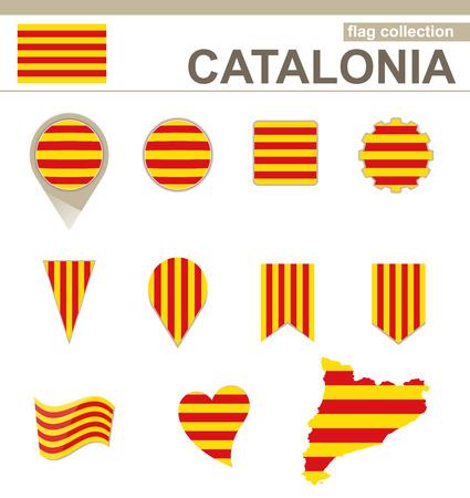 Catalonia Flag Collection, 12 versions Stock Illustratie