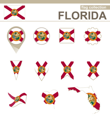 Florida Flag Collection, USA State, 12 versions Vector