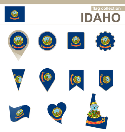 Idaho Flag Collection, USA State, 12 versions Vector
