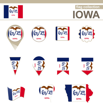 u s  flag: Iowa Flag Collection, USA State, 12 versions Illustration
