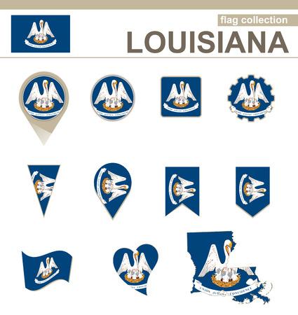 louisiana flag: Louisiana Flag Collection, USA State, 12 versions Illustration