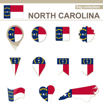 North Carolina Flag Collection, USA State, 12 versions Vector