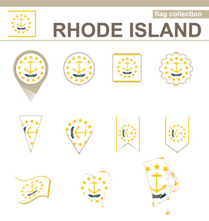 Rhode Island Flag Collection, USA State, 12 versions Vector