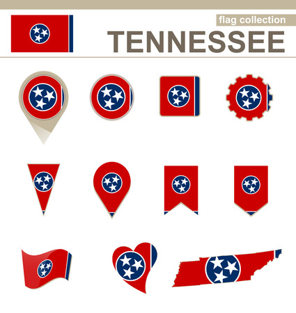 Tennessee Flag Collection, USA State, 12 versions Illustration