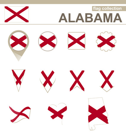 versions: Alabama Flag Collection, USA State, 12 versions Illustration