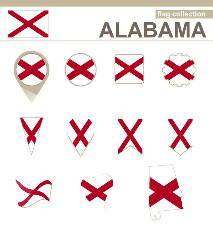 alabama: Alabama Flag Collection, USA State, 12 versions Illustration