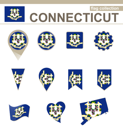 Connecticut Flag Collection, 12 versions Vector