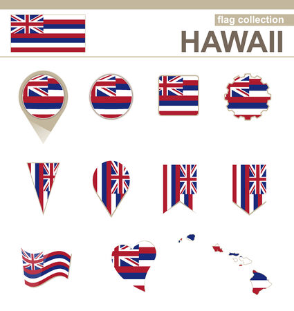 Hawaii Flag Collection, USA State, 12 versions Vector
