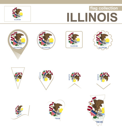 versions: Illinois Flag Collection, USA State, 12 versions Illustration