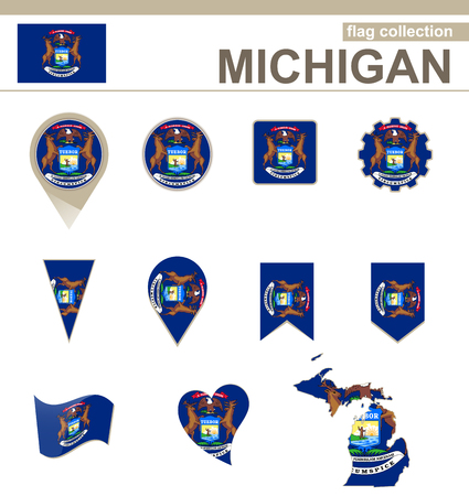 Michigan Flag Collection, USA State, 12 versions Vector