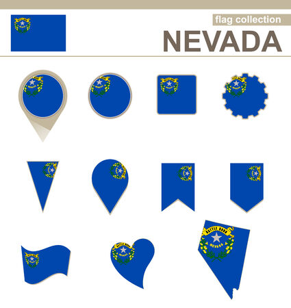 Nevada Flag Collection, USA State, 12 versions Vector