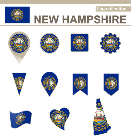 New Hampshire Flag Collection, USA State, 12 versions Vector