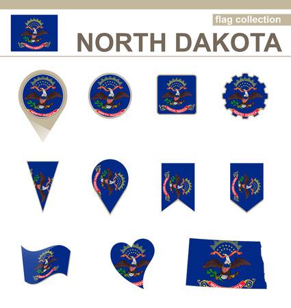 North Dakota Flag Collection, USA State, 12 versions