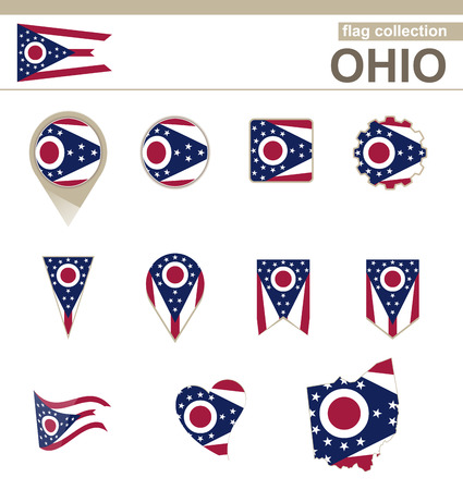Ohio Flag Collection, USA State, 12 versions Vector