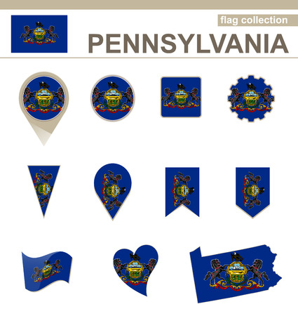 Pennsylvania Flag Collection, USA State, 12 versions Stock Vector - 36992129