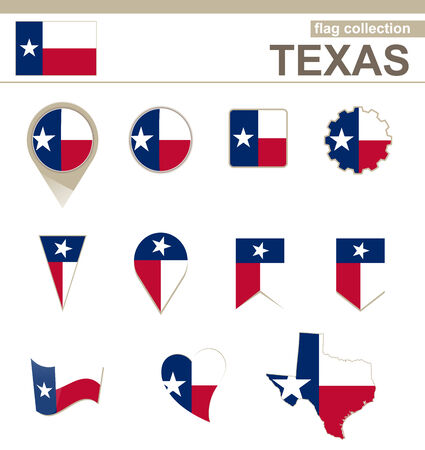 Texas Flag Collection, USA State, 12 versions Vector