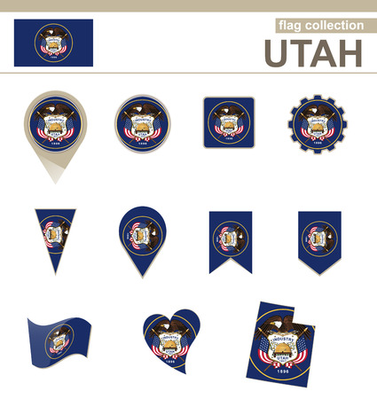 Utah Flag Collection, USA State, 12 versions Vector